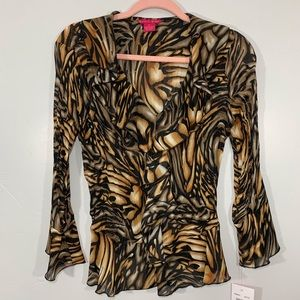 Sunny Leigh | Tiger Print Ruffled V-Neck Blouse